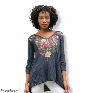 Caite Embroidered Floral Tunic Penni Small Gray